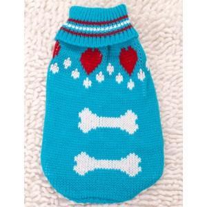 Свитер голубой с белыми косточками для собаки