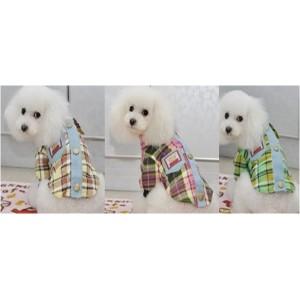 Рубашка в клеточку с мишкой для собак или кошек