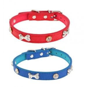 Ошейник с заклёпками-косточками со стразами для собак