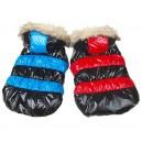 Куртка лаковая в цветную полоску  для собак