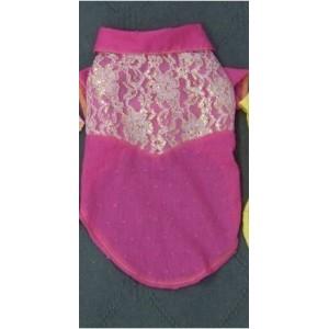 """Рубашка яркая розовая с гипюром """"Нарядная"""" для собак"""